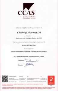Challenge Europe ISO 9001 2015 Certificate