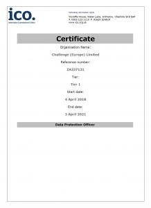 Challenge Europe ICO Registration Certificate