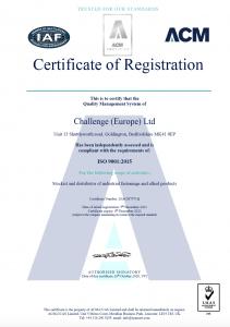 Challenge Europe ISO 9001 2015 Certificate